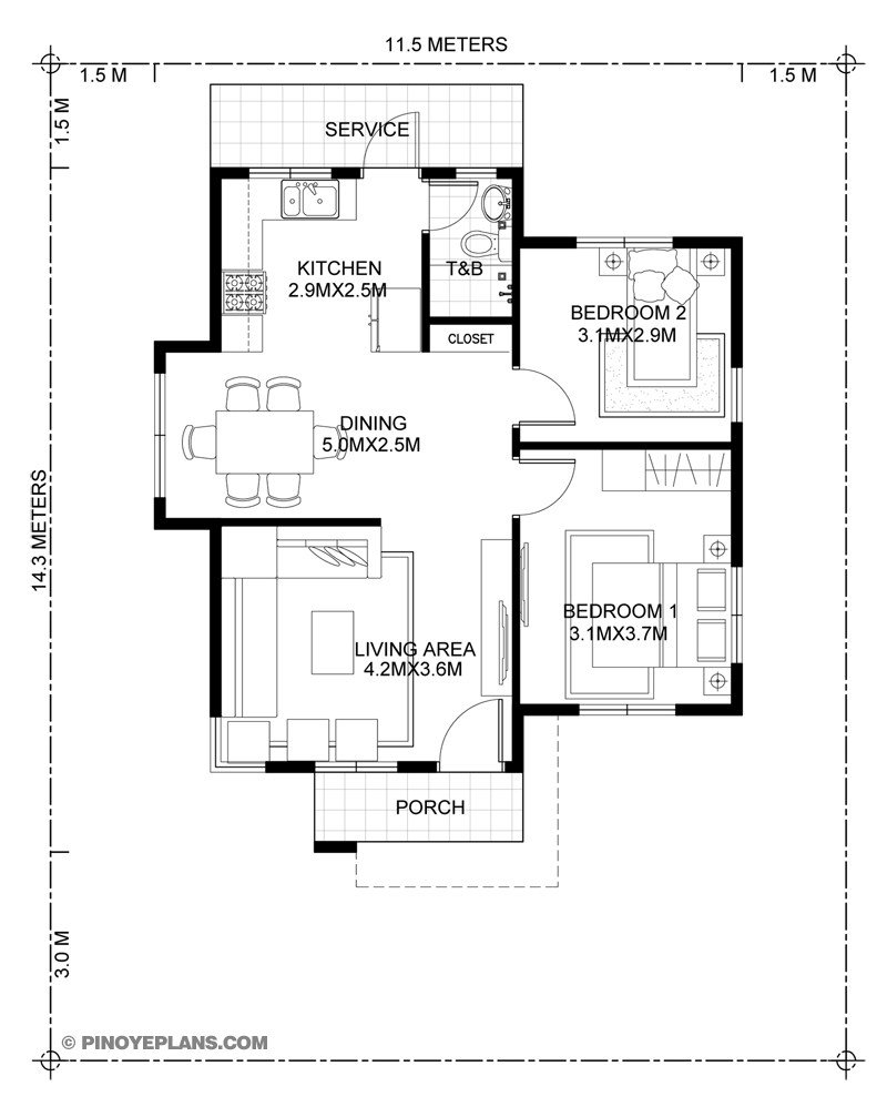 Best Katrina Stylish Two Bedroom House Plan Pinoy Eplans With Pictures