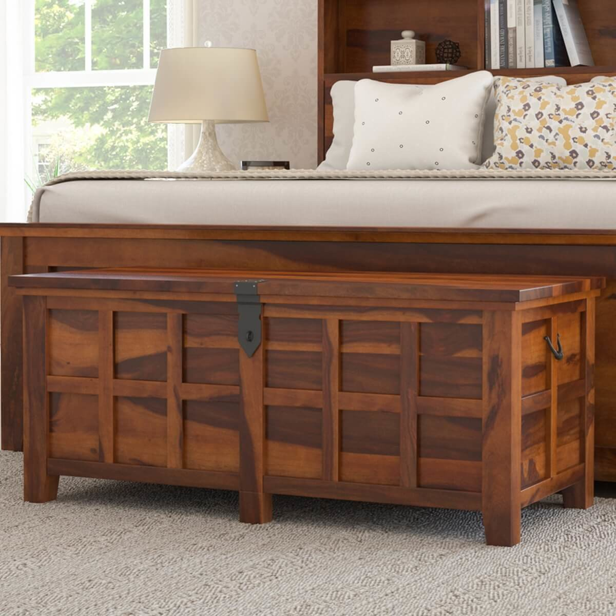 Best Mission Modern Solid Wood Standing Bedroom Trunk Chest With Pictures