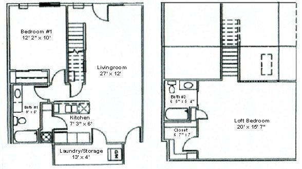 Best Floor Plan Two Bedroom Loft Woodsview Apartments With Pictures