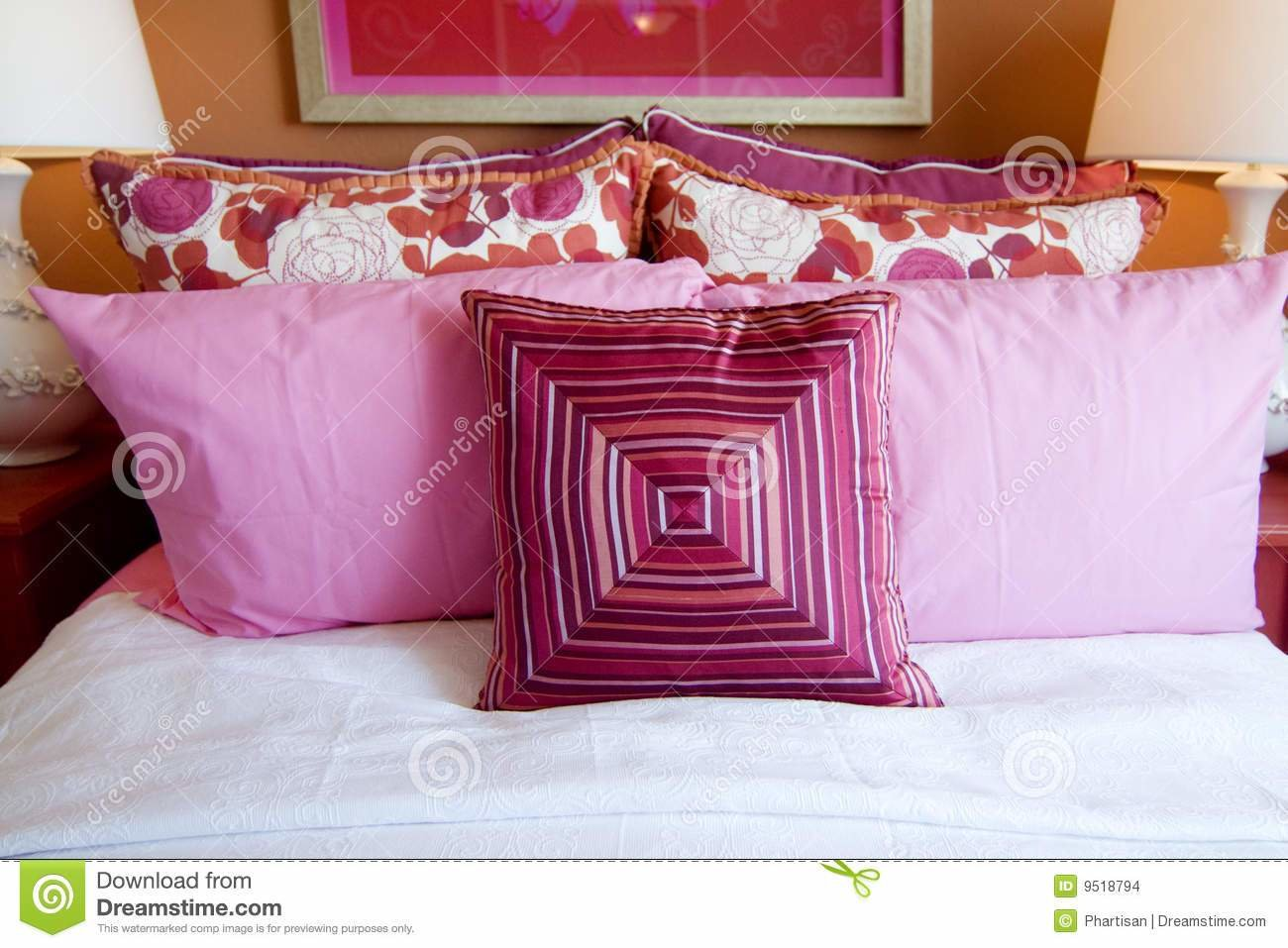 Best Pretty Fun Pink Bedroom Cushions Stock Images Image 9518794 With Pictures