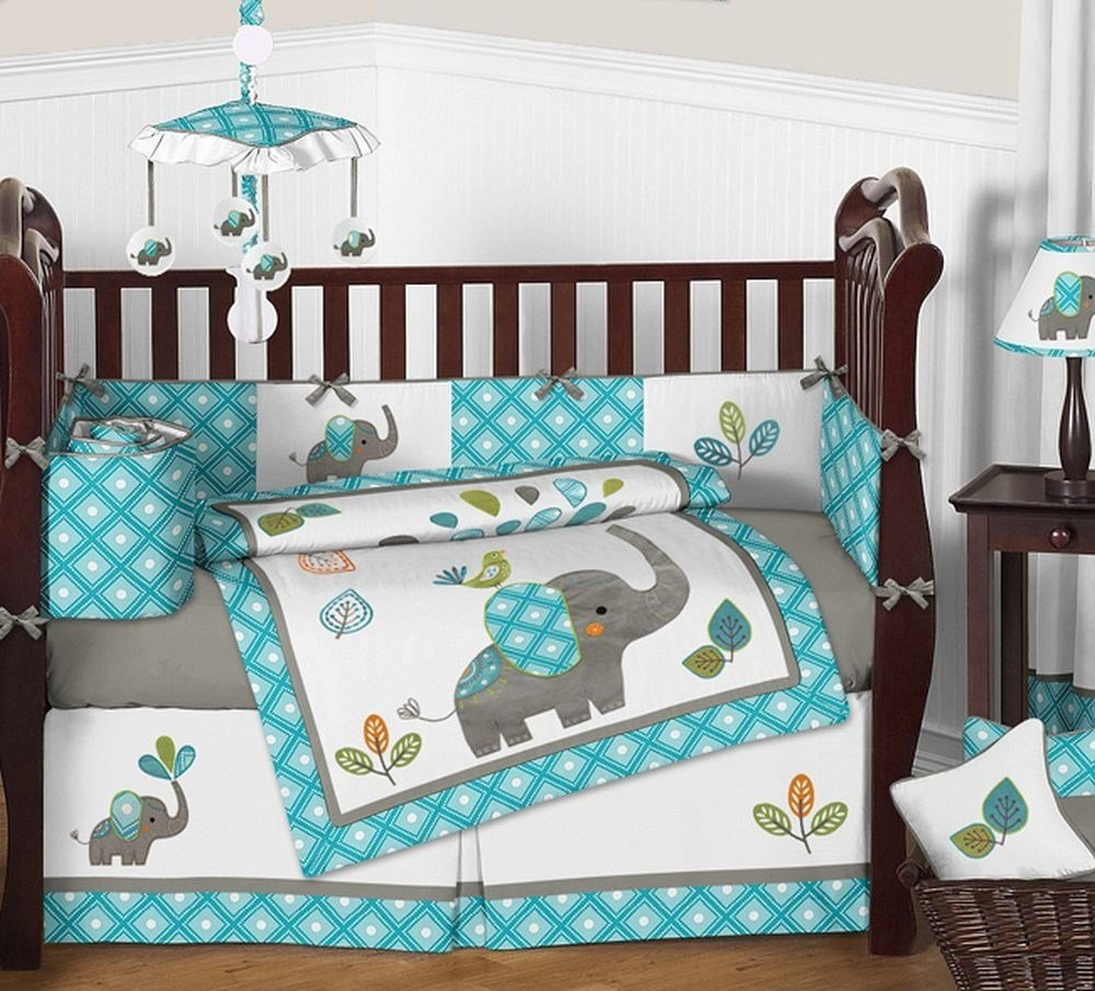 Best Mod Elephant Crib Bedding Set By Sweet Jojo Designs 9 With Pictures