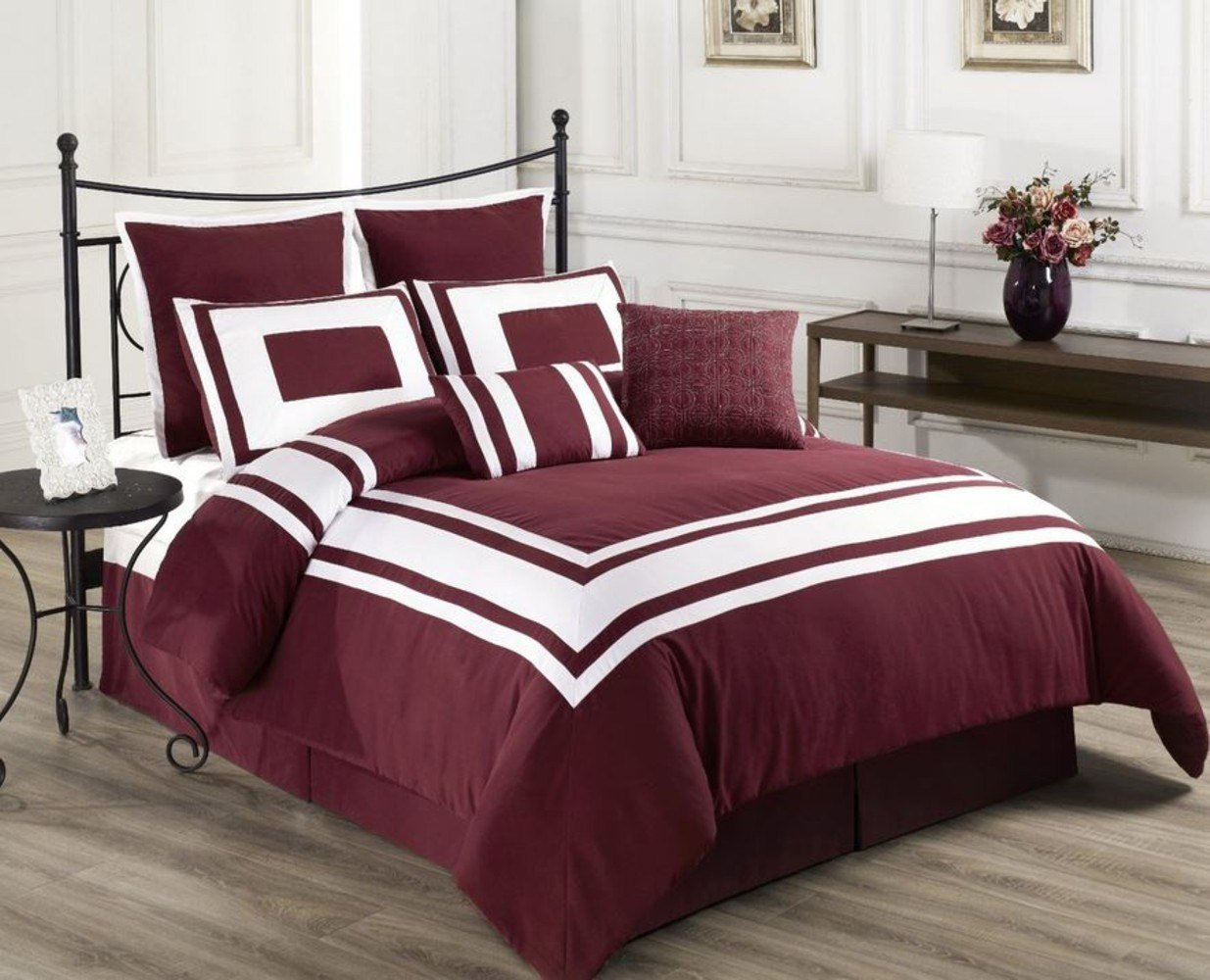 Best Red Comforter Set 8 Pcs Burgundy W White And 50 Similar Items With Pictures