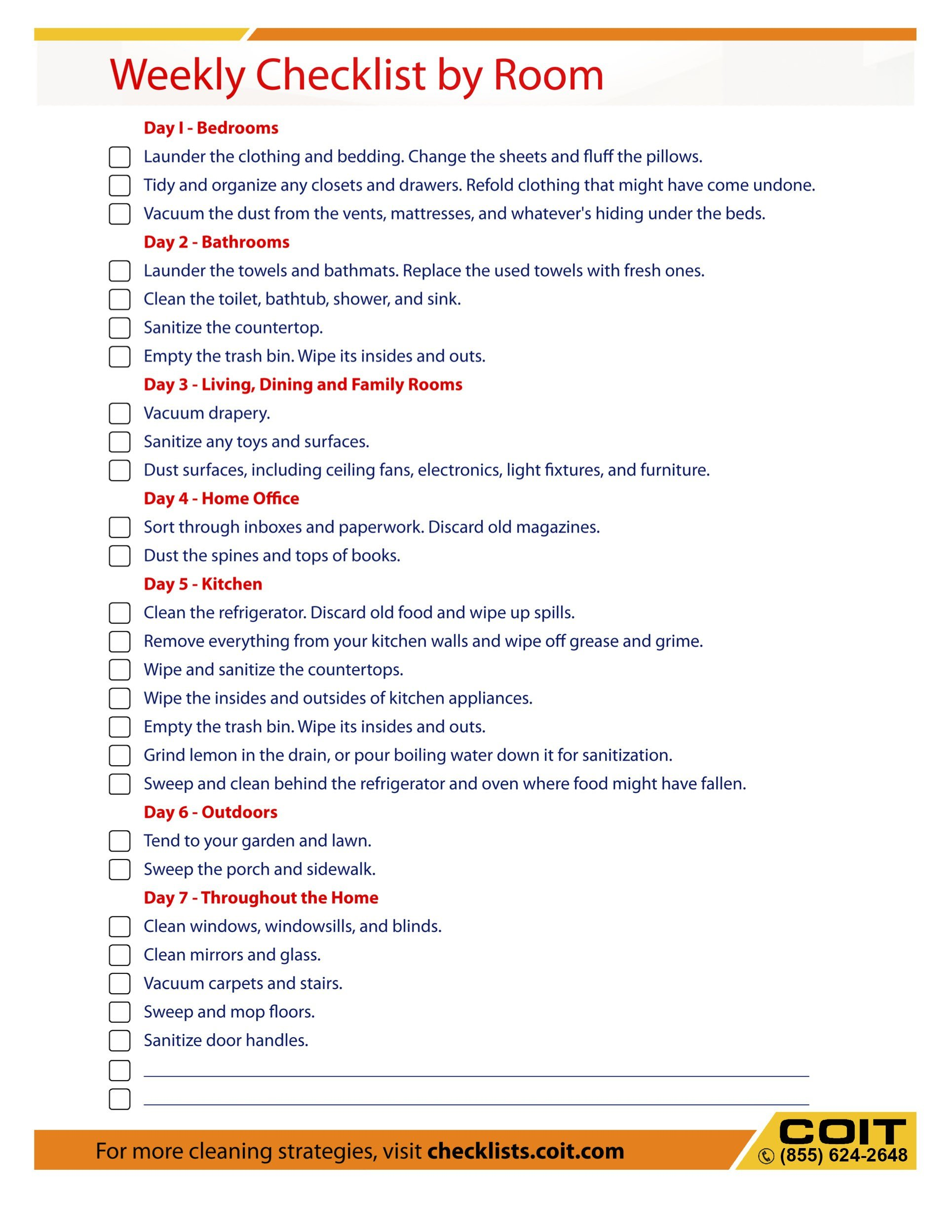 Best Weekly Cleaning Checklist By Rooms Coit With Pictures