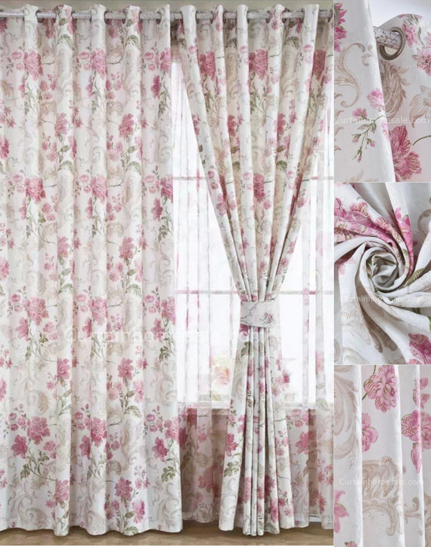 Best Charming Floral Bedroom Curtains Of White Color In Pink Flowers For Good Quality With Pictures