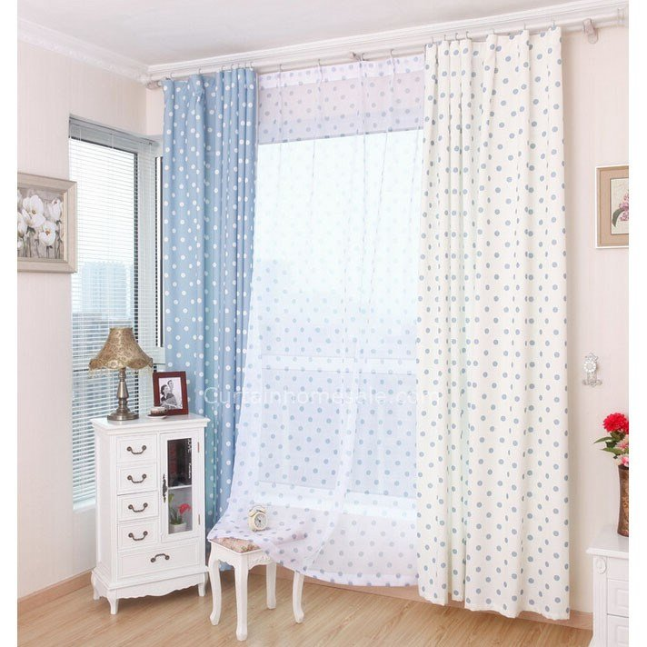 Best Blue And White Polyester And Cotton Blended Bedroom Polka Dot Curtains Kids With Pictures
