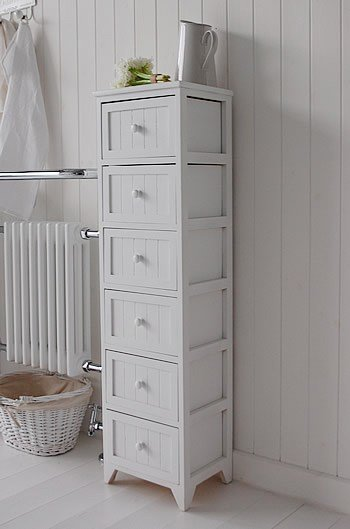 Best Maine Tall Slim 6 Drawer Unit White Cottage Bedroom With Pictures