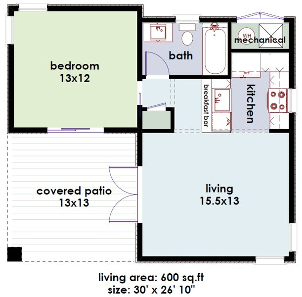 Best Studio600 Modern Guest House Plan D61 600 The House Plan Site With Pictures
