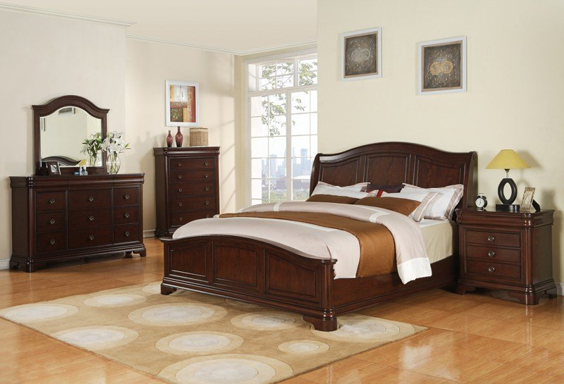 Best Cameron Bedroom Set Dark Cherry Finish Cm750Qb Decor South With Pictures