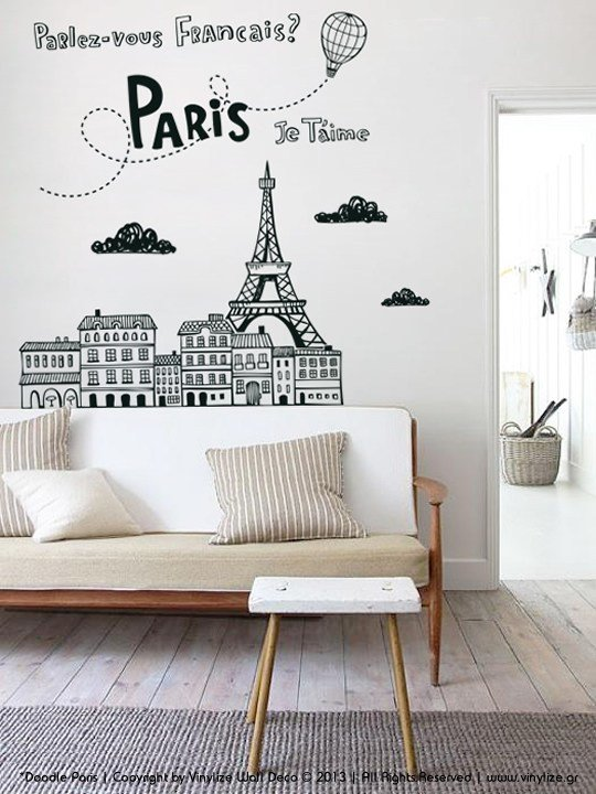 Best Doodle Paris Wall Sticker Vinylize Wall Deco With Pictures