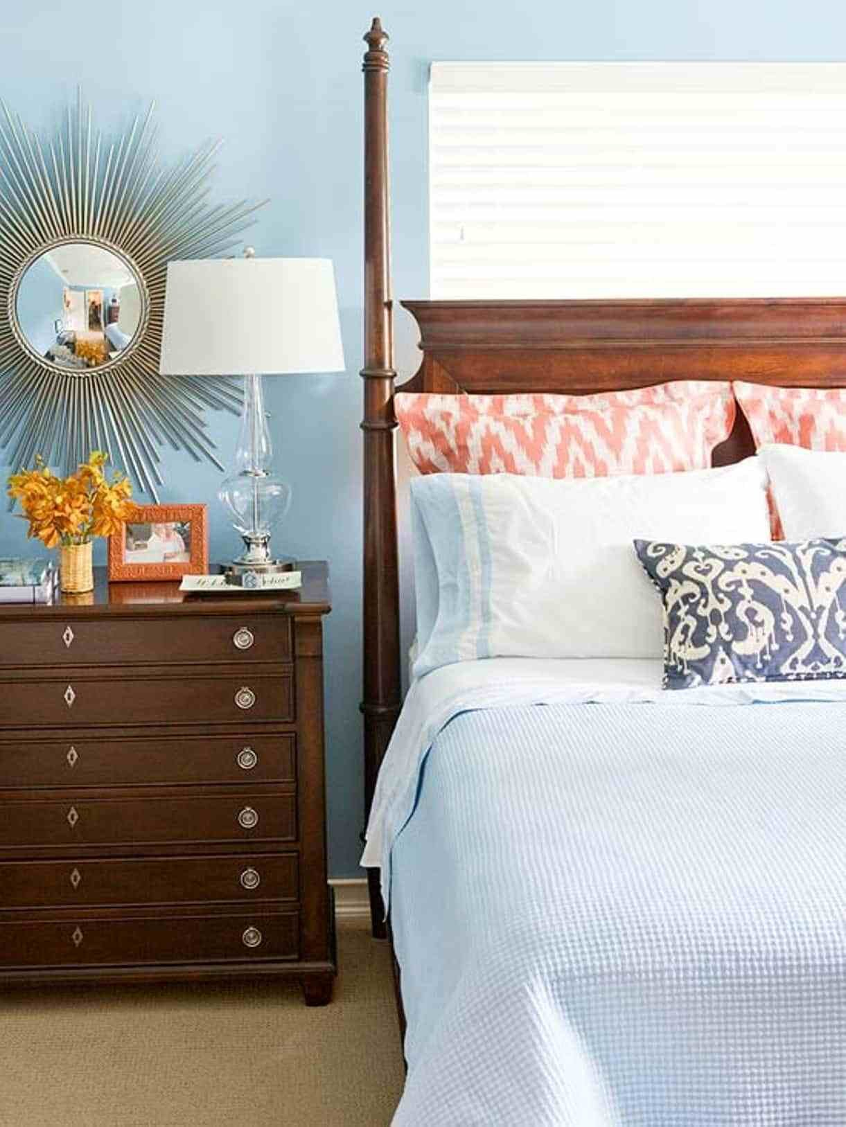 Best Bedroom With Wooden Nightstand And Sunburst Mirror With Pictures