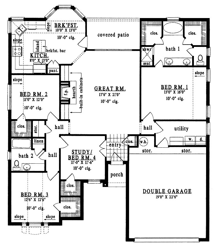 Best Four Bedroom Bungalow House Plans Astounding H*M*Y With Pictures