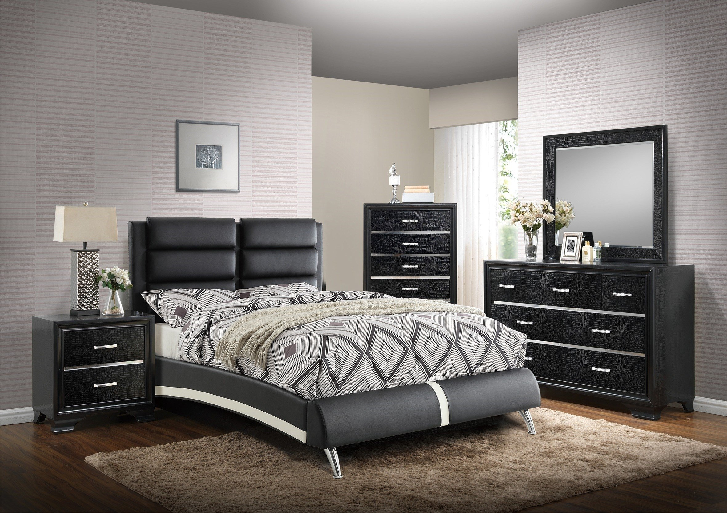 Best Bedroom Poundex Black Leather Cal King Bed Set Hot With Pictures