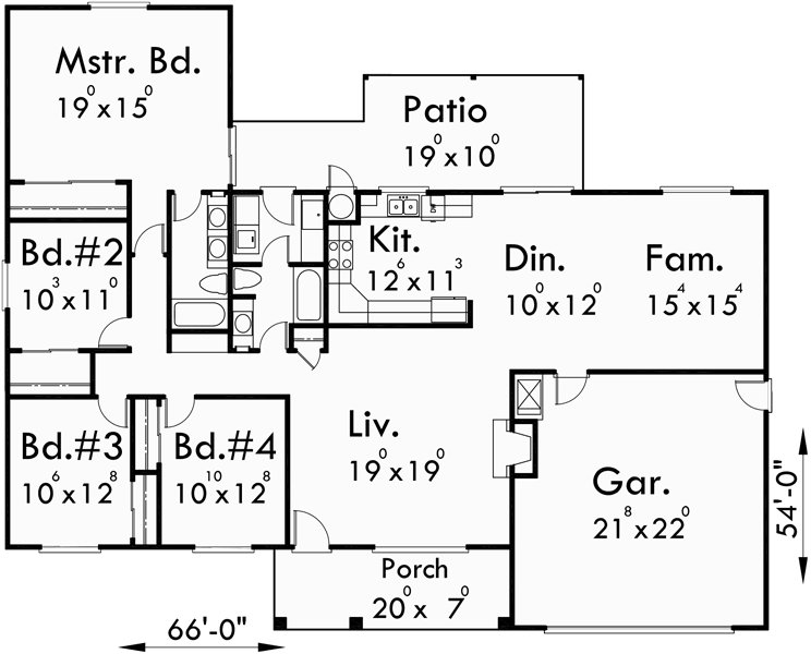 Best One Story House Plans Ranch House Plans 4 Bedroom House With Pictures