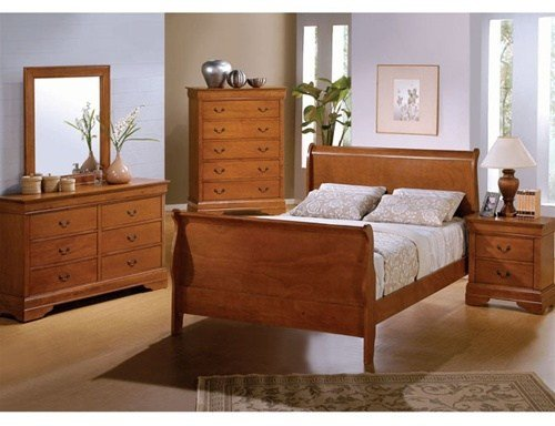 Best 6 Piece Rich Oak Louis Philippe Sleigh Bedroom Furniture With Pictures