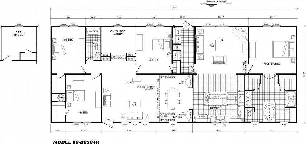 Best 4 Bedroom Floor Plan B 6594 Hawks Homes Manufactured With Pictures
