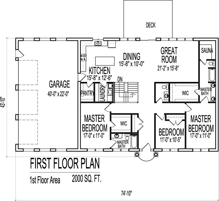 Best 2000 Sq Ft House Plans 3 Bedroom Single Floor One Story With Pictures