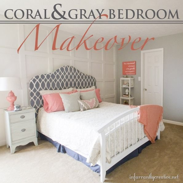 Best Coral Gray Bedroom Makeover – Room Reveal With Pictures