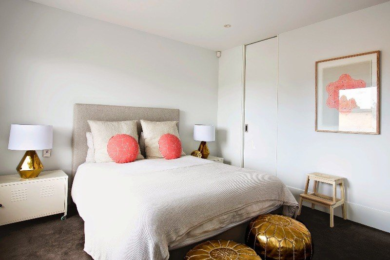 Best White Bedroom Design With Peach And Gold Accents For Girls With Pictures