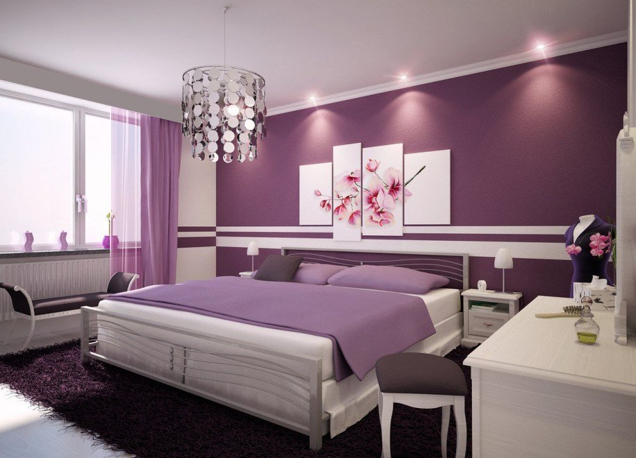 Best Purple Fur Rug Modern Iron Bed Frame Purple Themed Bedroom With Pictures