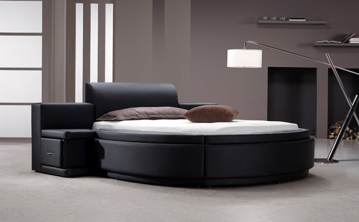 Best Owen Black Leatherette Round Bed W Storage With Pictures