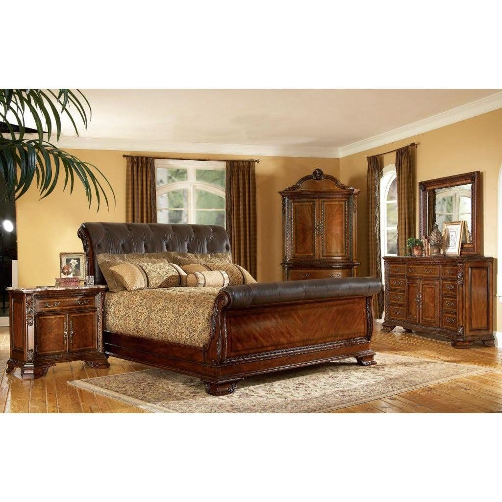 Best King Size 4 Piece Wood Leather Sleigh Bedroom Set With Pictures