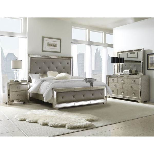 Best Celine 5 Piece Mirrored And Upholstered Tufted Queen Size With Pictures