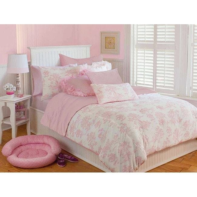 Best Microplush Pink Toile Full Queen Size 3 Piece Comforter With Pictures