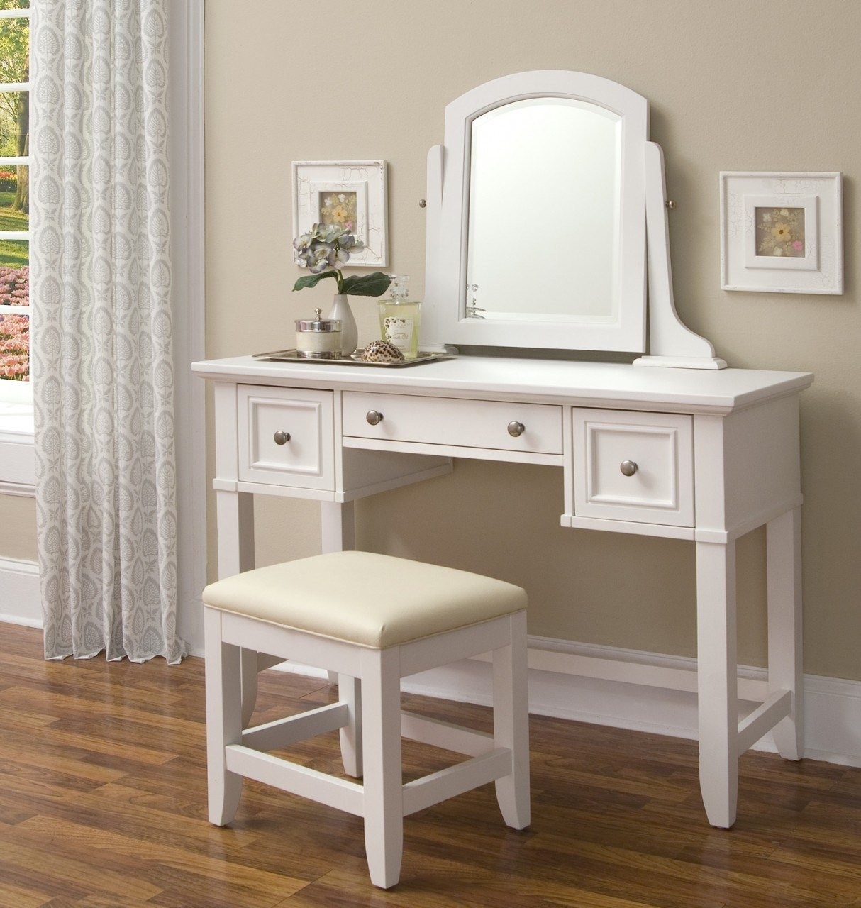 Best Homestyles Naples White Vanity Dressing Makeup Table 5530 Bedroom Furniture Reviews With Pictures