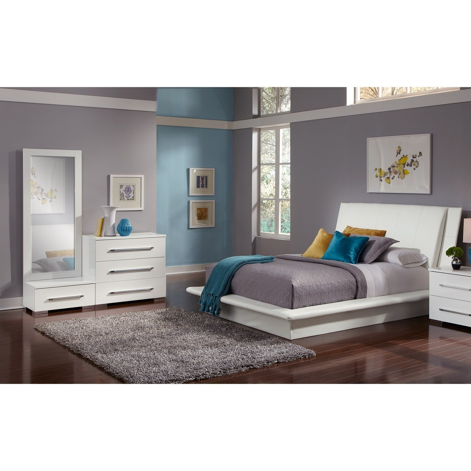 Best Dimora 5 Piece Queen Upholstered Bedroom Set White With Pictures