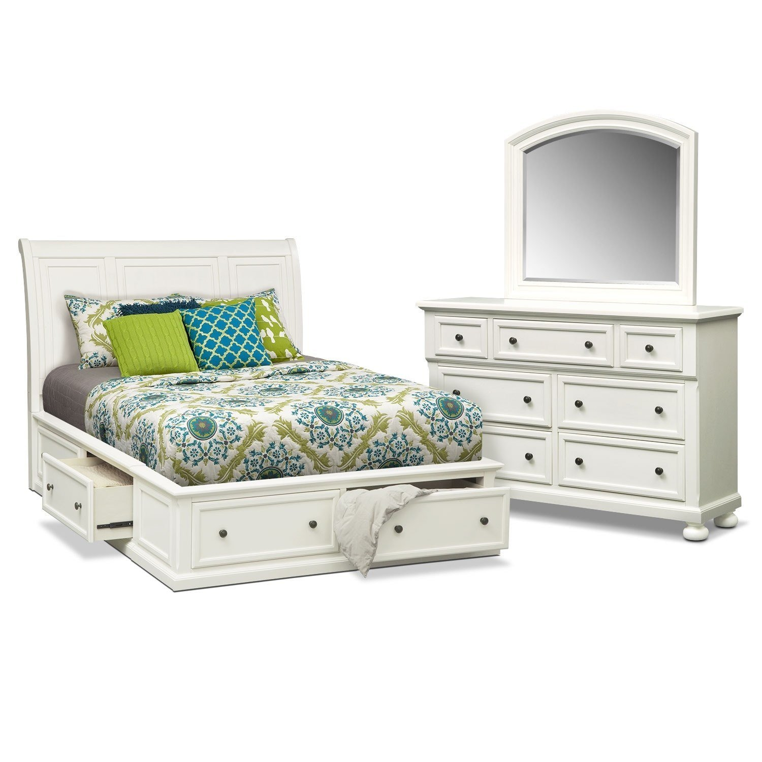 Best Hanover White Queen Storage Bed Value City Furniture With Pictures