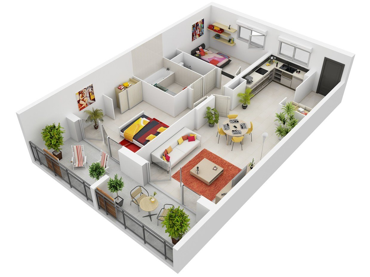 Best 50 Two 2 Bedroom Apartment House Plans Architecture With Pictures