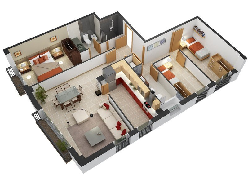 """Best 50 Three """"3"""" Bedroom Apartment House Plans Architecture Design With Pictures"""