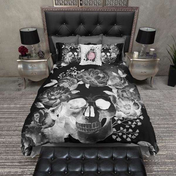 Best Black Night Watercolor Skull Bedding – Ink And Rags With Pictures