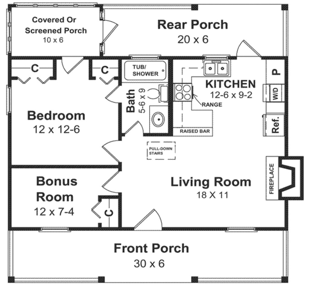 Best Cabin Style House Plan 1 Beds 1 Baths 600 Sq Ft Plan 21 108 With Pictures