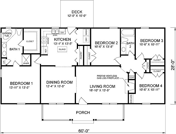 Best Southern Style House Plan 4 Beds 2 Baths 1680 Sq Ft Plan 66 377 With Pictures
