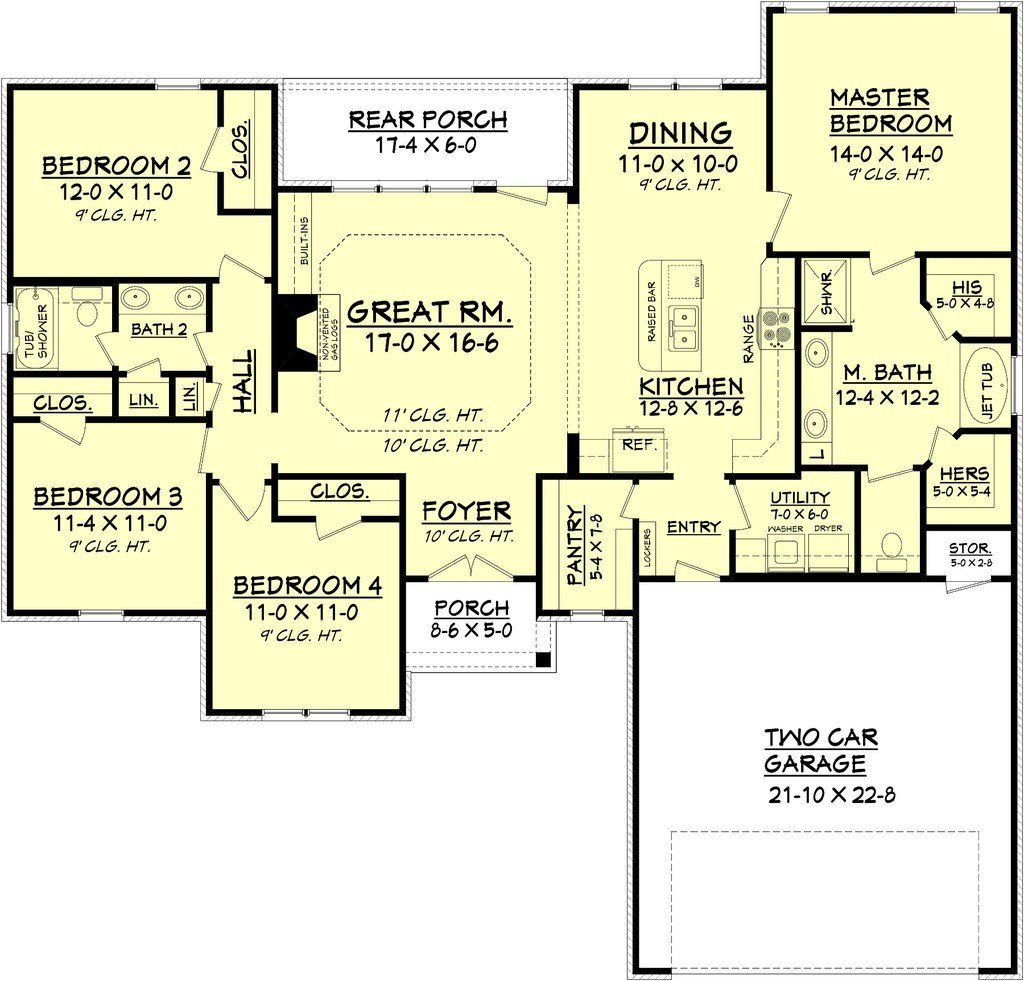 Best Country Style House Plan 4 Beds 2 Baths 1798 Sq Ft Plan With Pictures