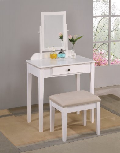 Best White Bedroom Vanity Table With Tilt Mirror Cushioned With Pictures