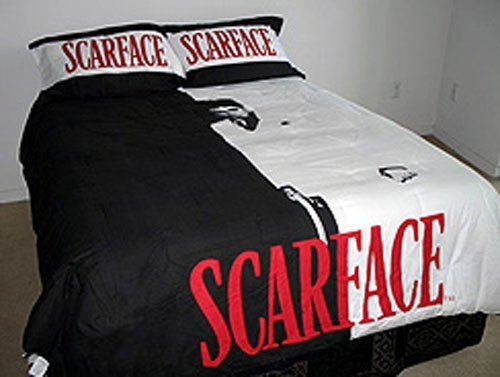 Best 3 Piece Black White Red Scarface Tony Montana Comforter With Pictures