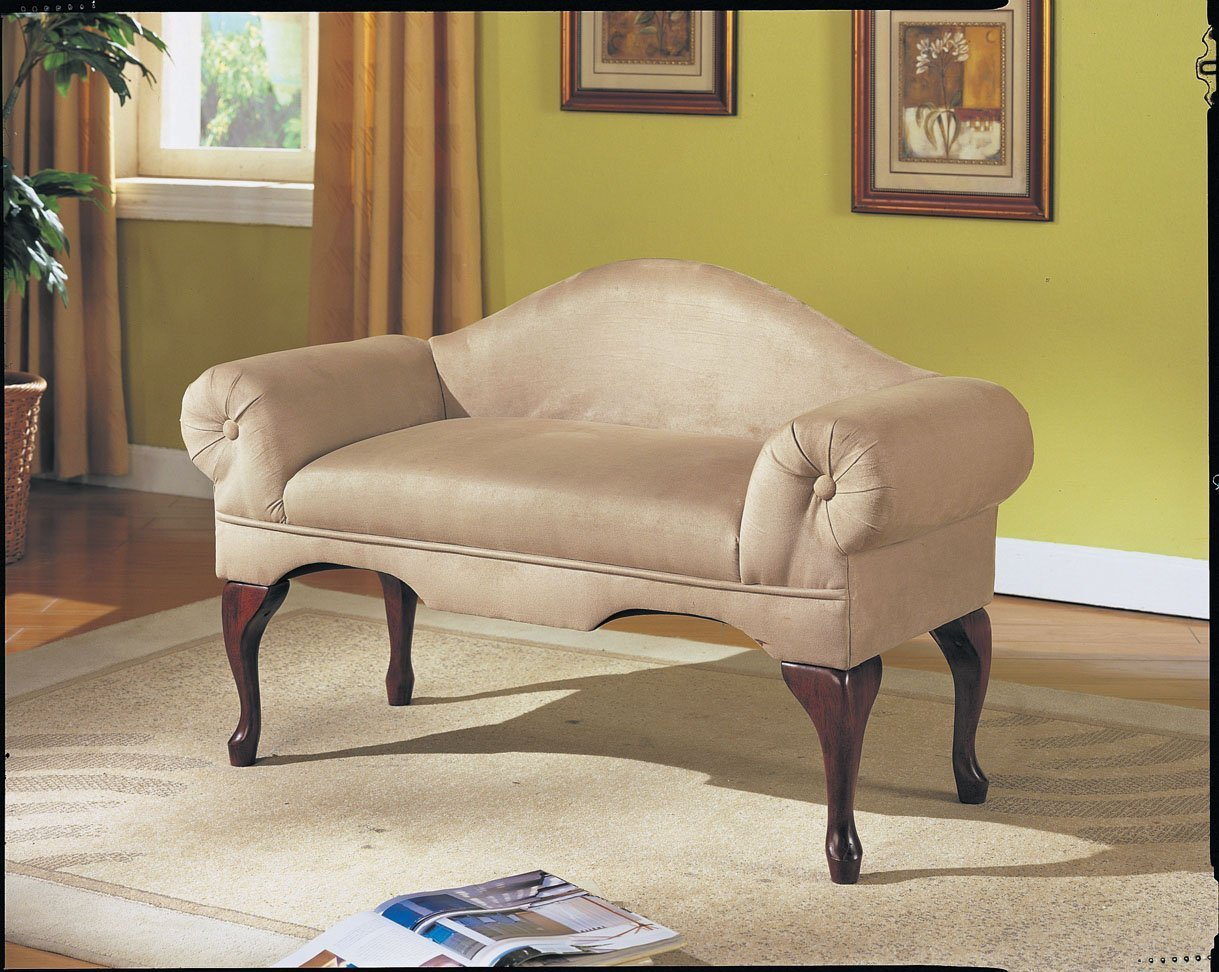 Best Microfiber Rolled Arm Back Bench Seat Chair Bedroom Living With Pictures