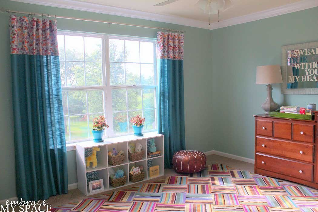 Best Colorful Modern Bedroom Floor With Turquoise Curtain With Pictures