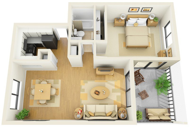 Best Stirring One Bedroom Apartment Floor Plans With A Pretty With Pictures Original 1024 x 768