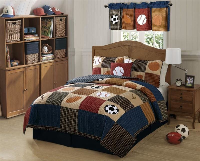 Best Boys Sports Baseball Classic Soccer State Game Twin Full Queen Quilt Bedding Set With Pictures
