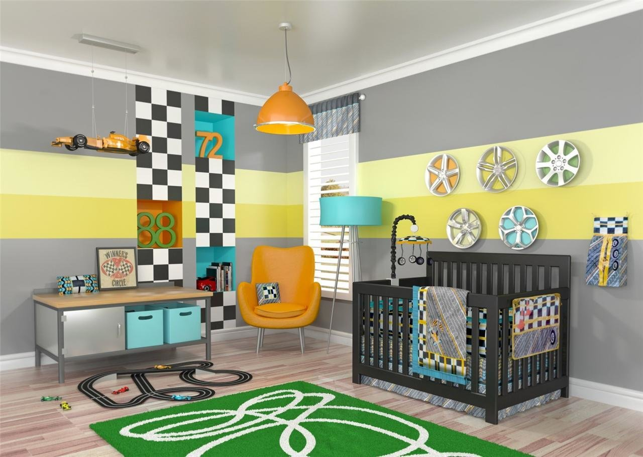Best Gray 10Pc Race Car Baby Nursery Bedding Set Boy Discount With Pictures