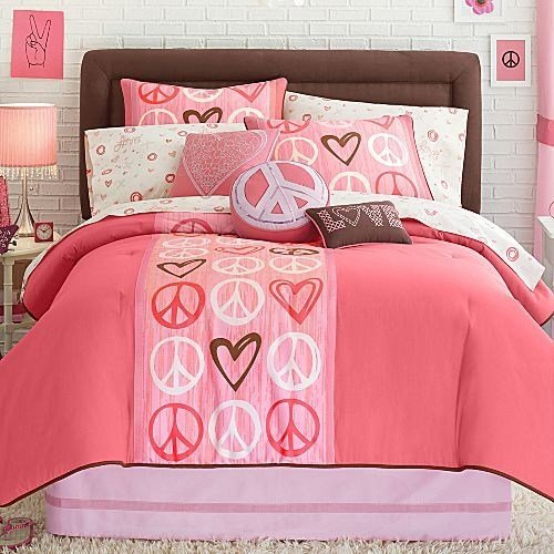 Best 12P Queen Comforter Peace Sign Pink Coral Brown Girl T**N With Pictures