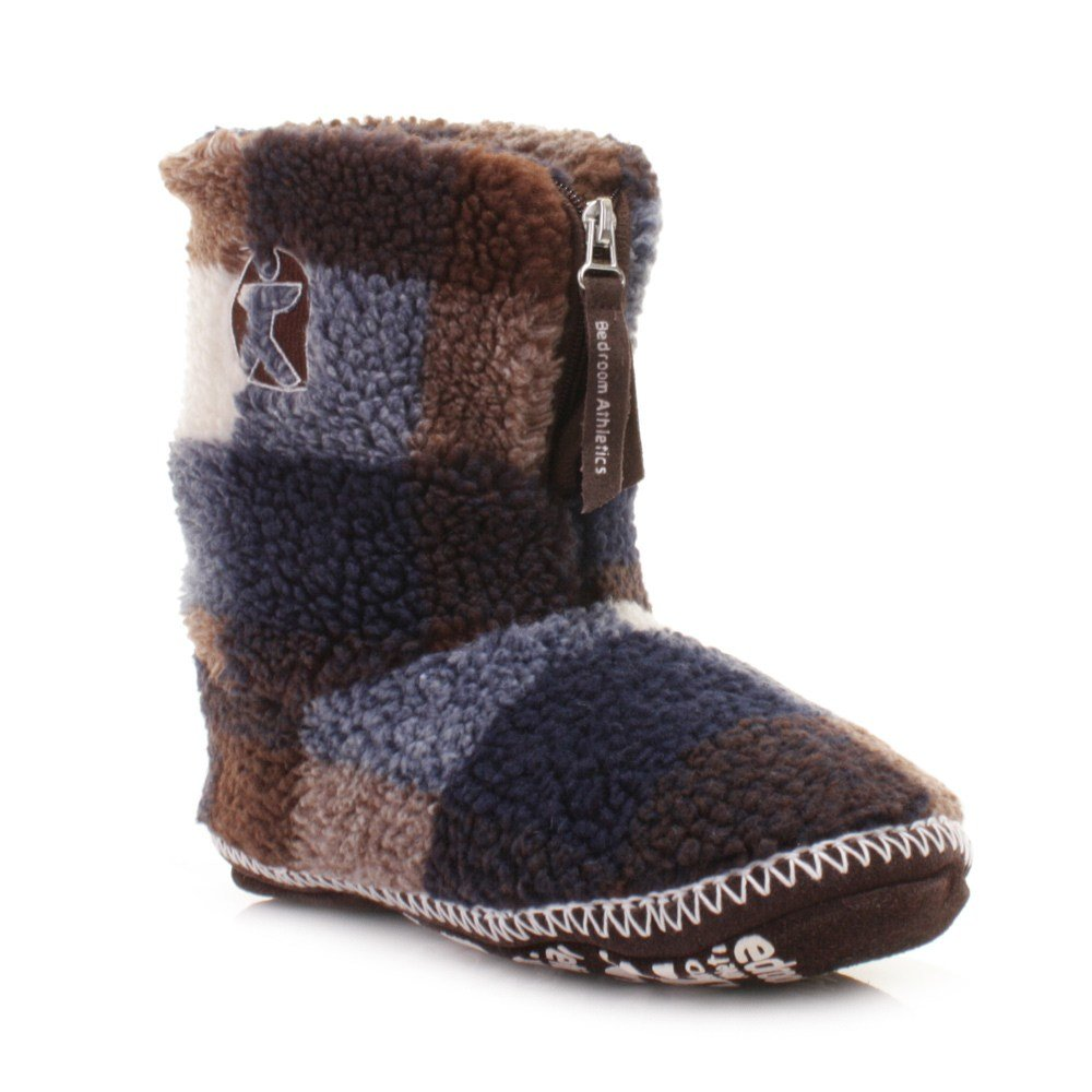 Best Mens Bedroom Athletics Mcqueen Navy Choc White Fleece Slipper Boots Size 3 4 9 1 Ebay With Pictures