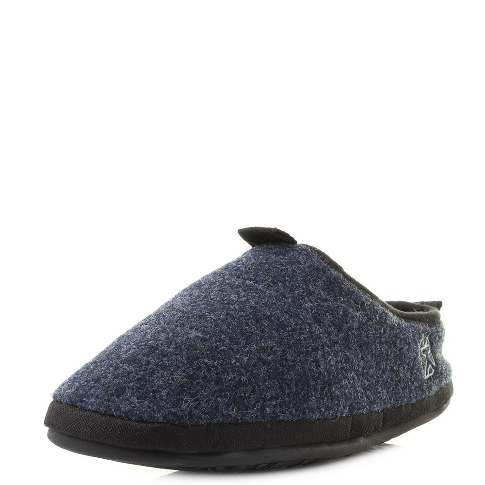 Best Mens Bedroom Athletics Travolta Navy Fleece Lined Mule Slippers Shu Size Ebay With Pictures