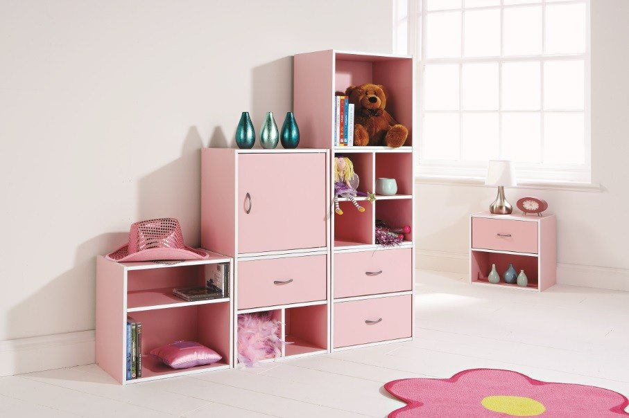 Best Storage Cube System Pink Kids Bedroom Play Room Inter With Pictures