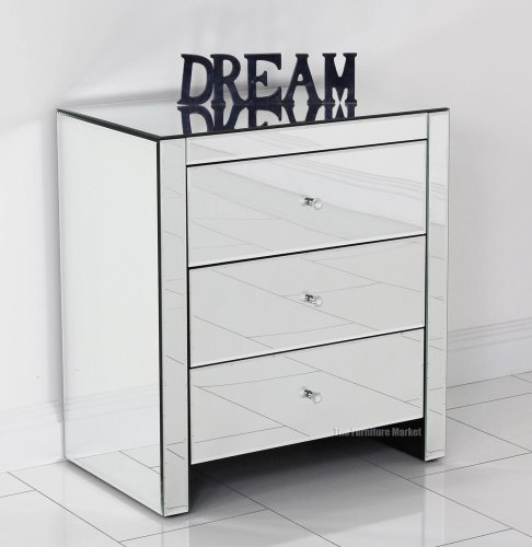 Best Venetian Mirrored Glass 3 Drawer Wide Bedside Table With Pictures