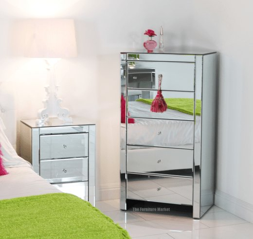 Best Venetian Mirrored Glass 5 Drawer Tallboy Chest Bedroom Furniture Tfm4 Ebay With Pictures