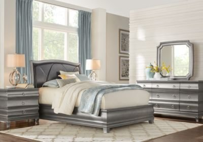 Best Alexi Silver 7 Pc King Panel Bedroom With Chocolate Inset With Pictures